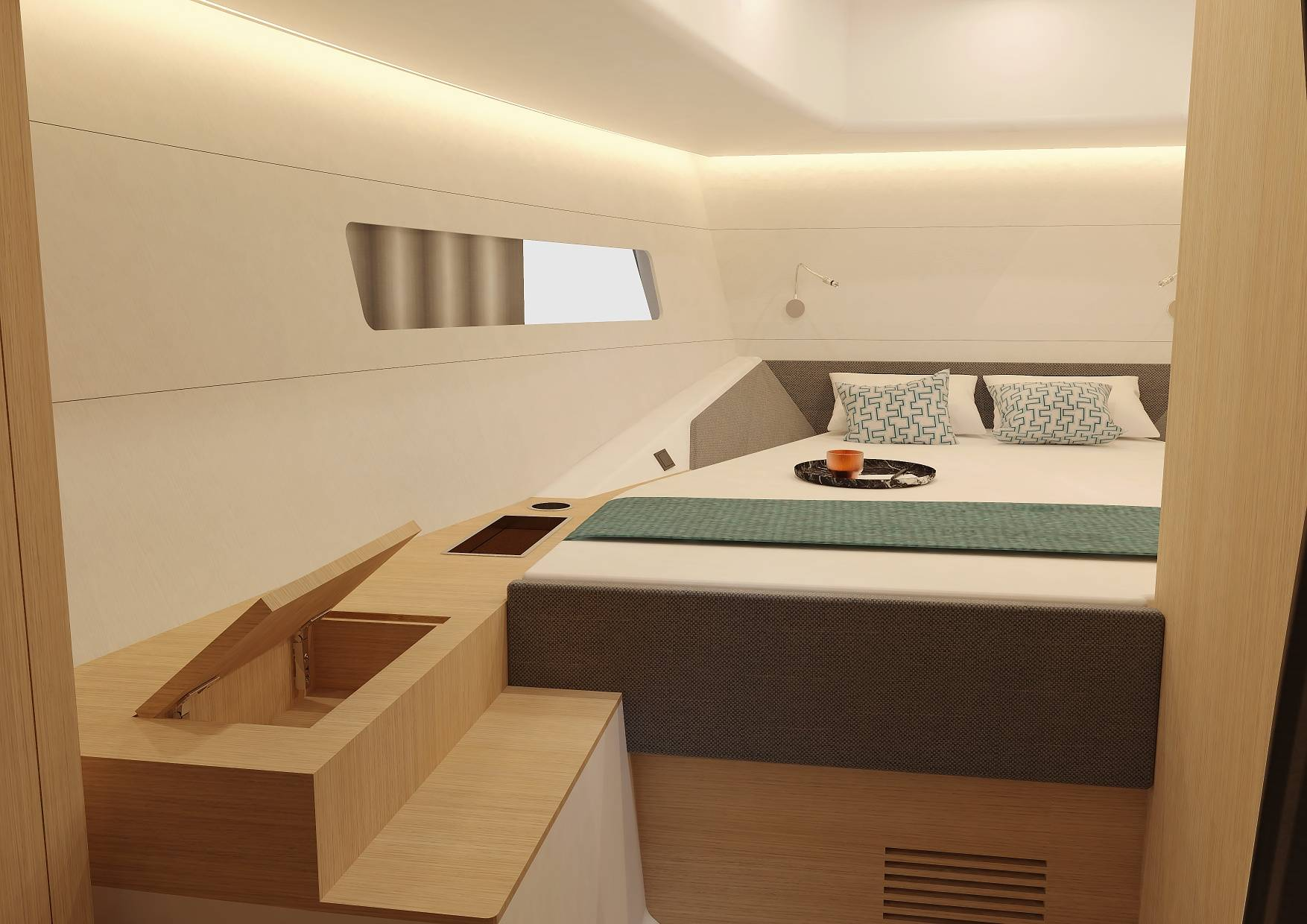 The Spacious Master Cabin Of The D38 CC Features Lots Of Storage
