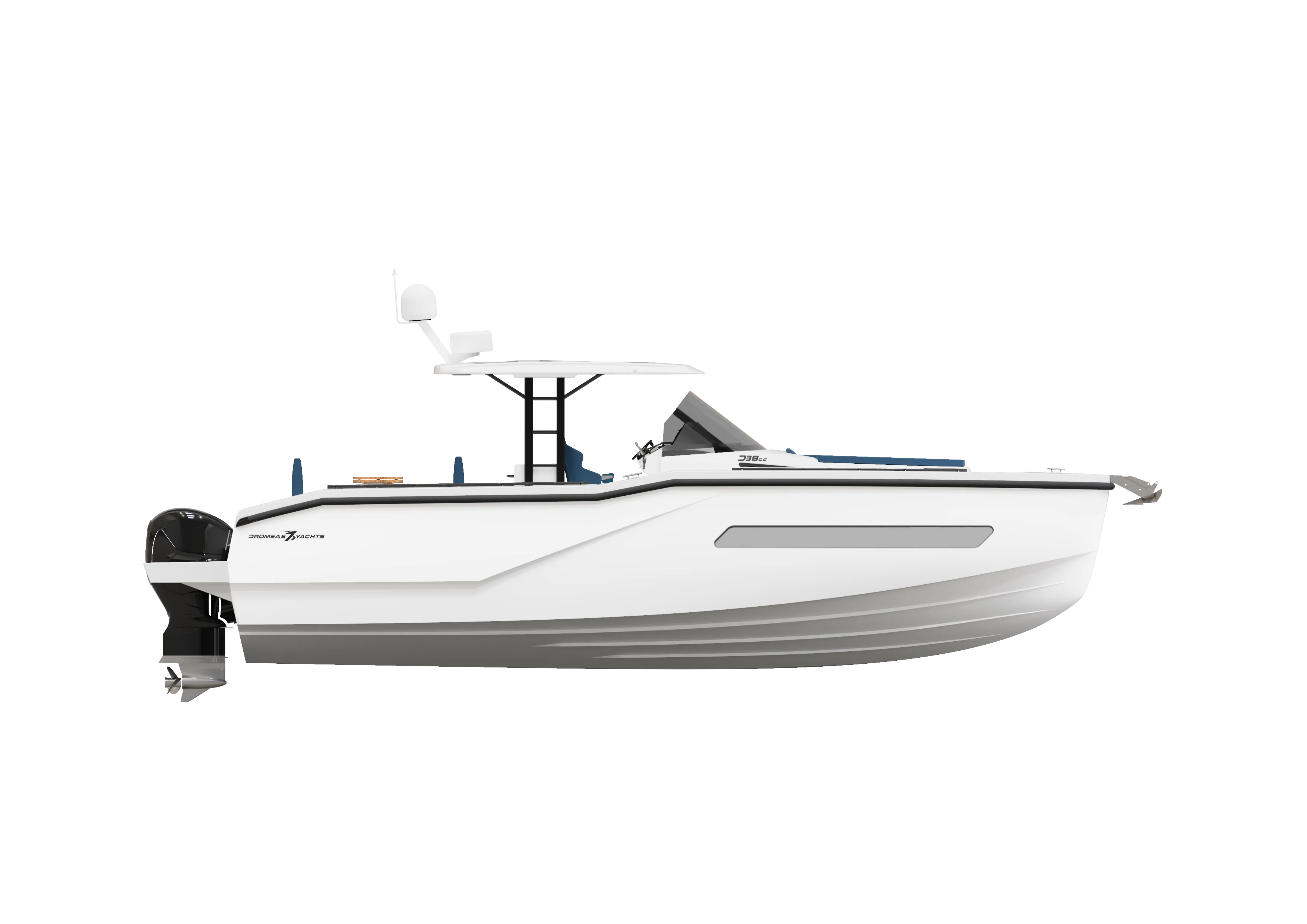 A side view render of our D38 CC model